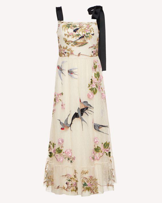 REDValentino 飞燕与花卉刺绣细点网眼薄纱连衣裙
