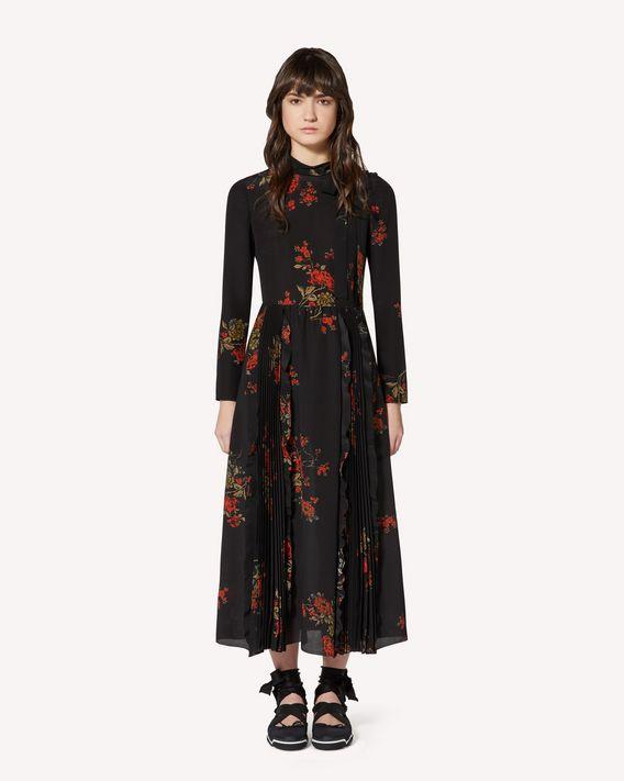 REDValentino 东方繁花印纹双绉连衣裙
