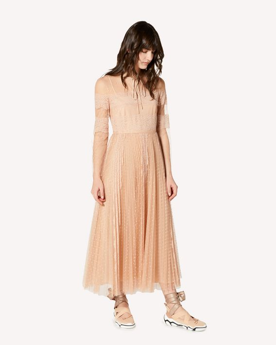 REDValentino   限定款  蕾丝饰带细点网眼薄纱连衣裙