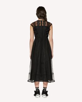 REDValentino Zagana 饰带细节细点网眼薄纱连衣裙
