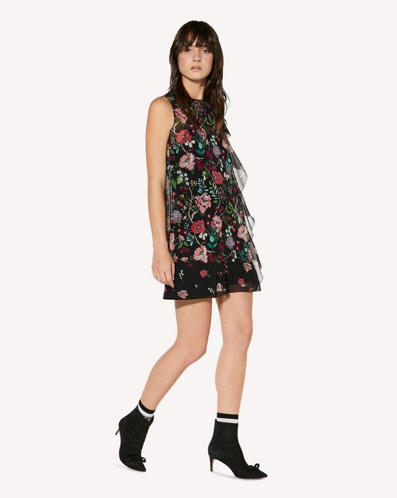REDValentino 褶饰细节 Cherry Blossom 印纹平纹细布连衣裙