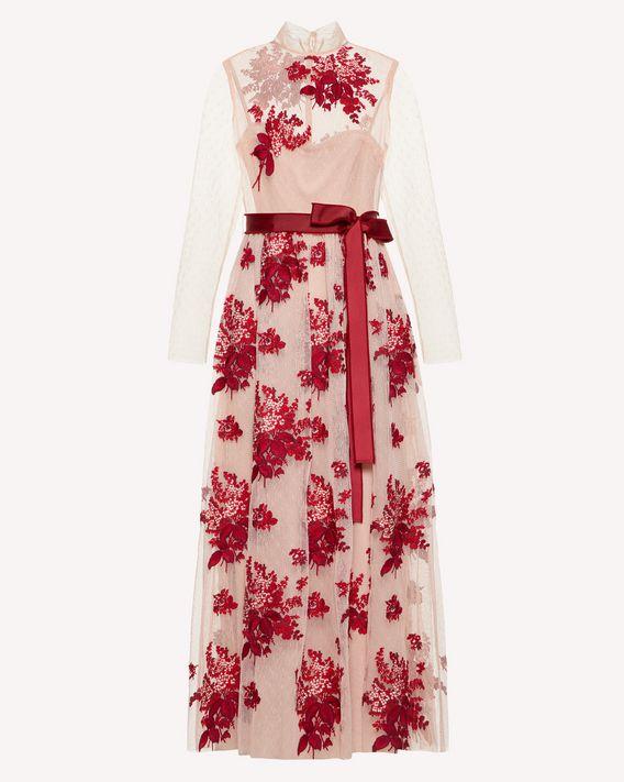 REDValentino Floral Tapestry 刺绣细点网眼薄纱连衣裙