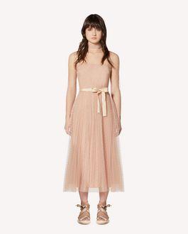 REDValentino 细点网眼薄纱褶裥连衣裙