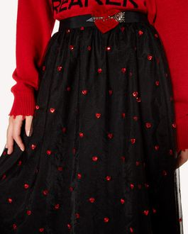 REDValentino 心形拼饰与刺绣细点网眼薄纱半裙