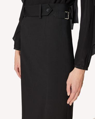 REDValentino 羊毛粘胶混纺华达呢直筒半裙