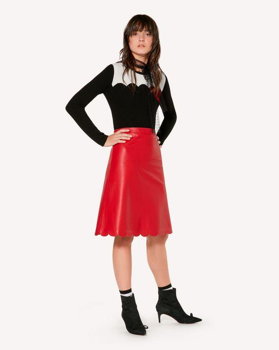 REDValentino 扇形细节皮革半裙