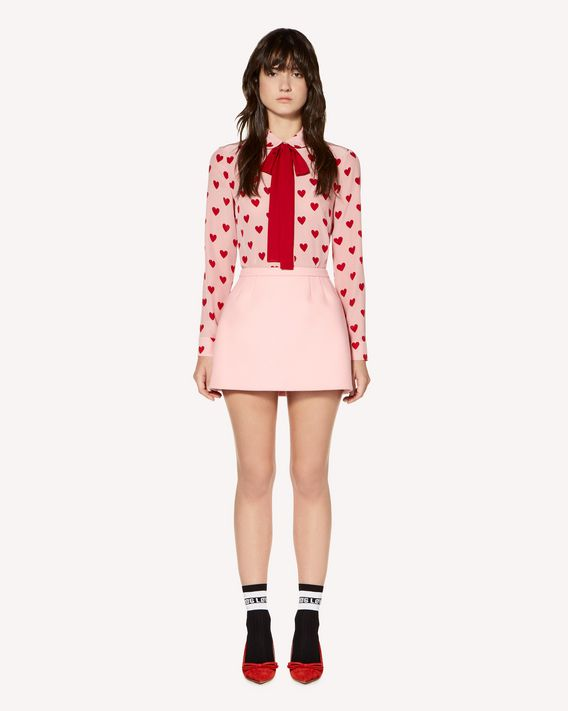 REDValentino 羊毛羊绒混纺厚呢迷你半裙