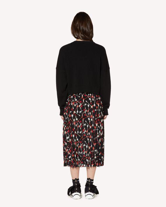 REDValentino 箭头印纹双绉褶裥半裙