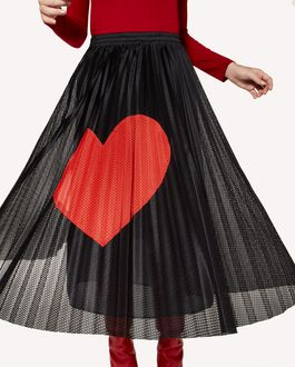 REDValentino 心形嵌花网眼平纹针织褶裥半裙