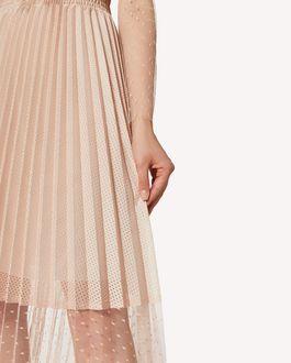 REDValentino 细点网眼薄纱、平纹针织网眼褶裥半裙