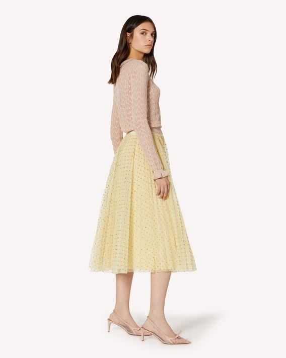 REDValentino 亮片波点薄纱褶裥半裙