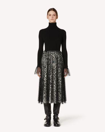 REDValentino Leo Panther 印纹衬里细点网眼薄纱褶裥半裙