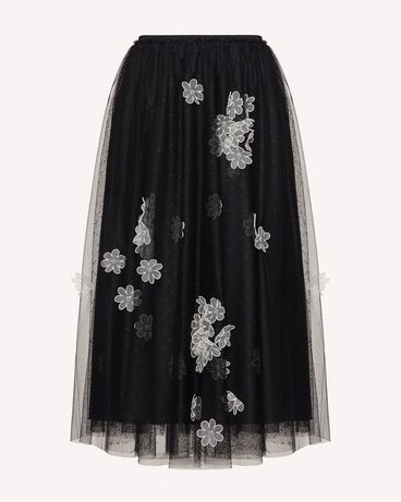 REDValentino 欧根纱花卉刺绣细点网眼薄纱半裙