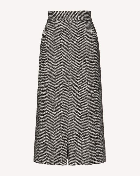 REDValentino 大号羊毛人字纹铅笔半裙
