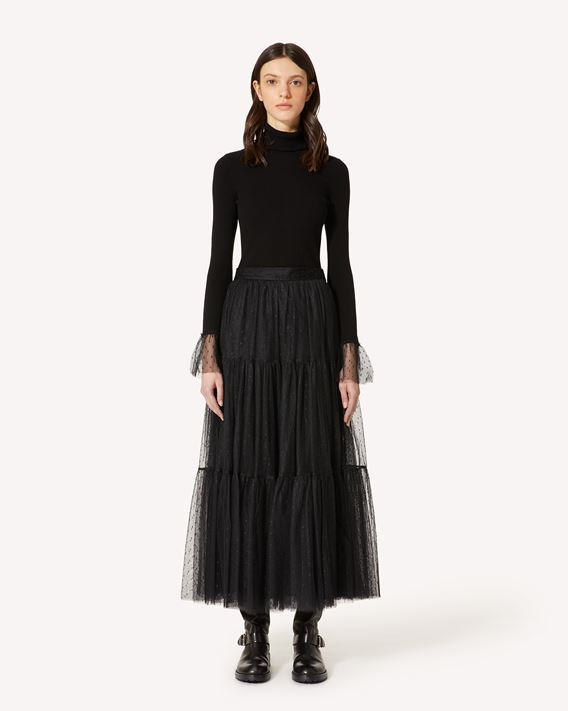 REDValentino 细点网眼薄纱褶边半裙