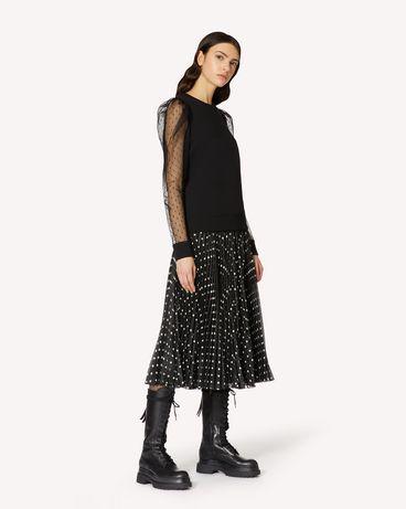 REDValentino 波点印纹轻质绉绸金银丝褶纹半裙