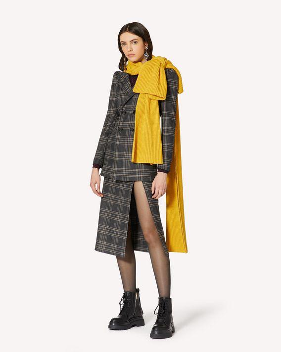 REDValentino 搭扣细节格纹法兰绒铅笔半裙