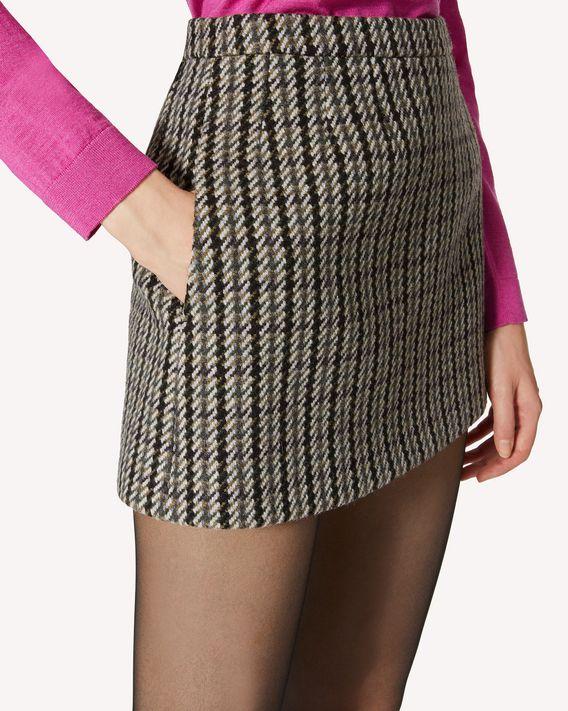 REDValentino 花式羊毛千鸟格纹迷你半裙
