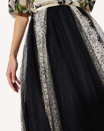 REDValentino 细点网眼薄纱半裙配蕾丝饰带