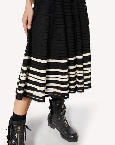 REDValentino 细点网眼薄纱半裙配罗缎饰带。