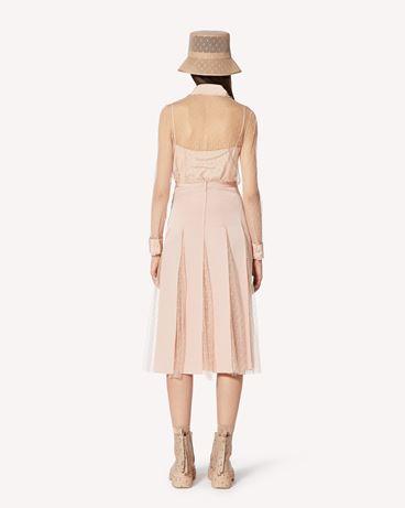 REDValentino 细点网眼薄纱半裙配罗缎饰带
