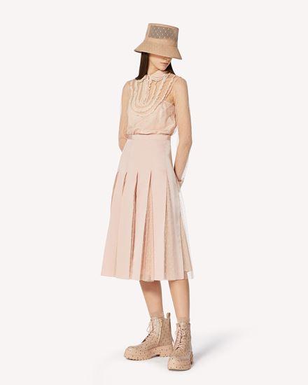 细点网眼薄纱半裙配罗缎饰带