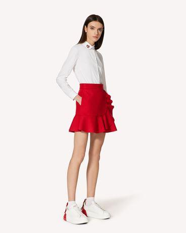 REDValentino 专属胶囊系列 <br>-  褶饰细节科技巧克丁迷你半裙