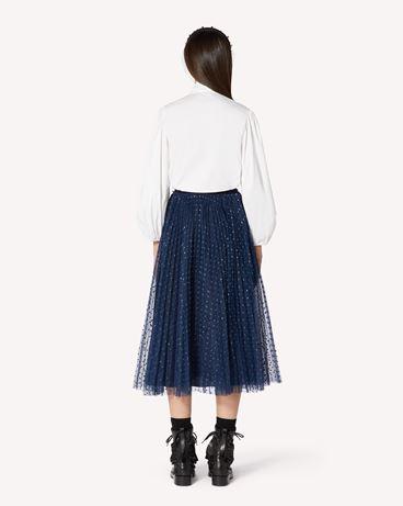 REDValentino 闪片波点薄纱褶饰半裙