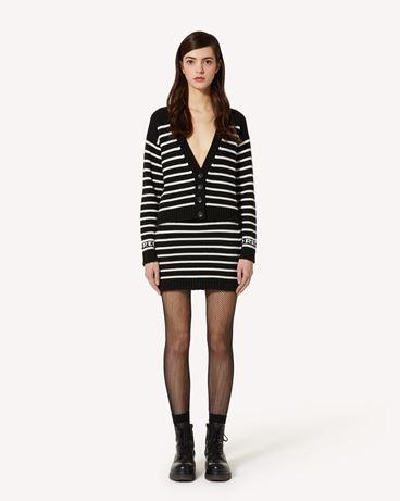 REDValentino 条纹羊毛混纺迷你针织半裙