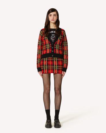 REDValentino 花呢格羊毛迷你针织半裙