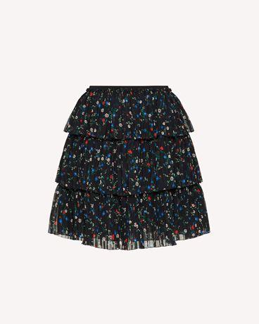 REDValentino 荷叶边 Daisy 印纹平纹细布迷你半裙