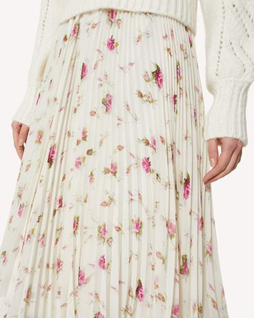 REDValentino Sweet Roses 印纹褶饰半裙