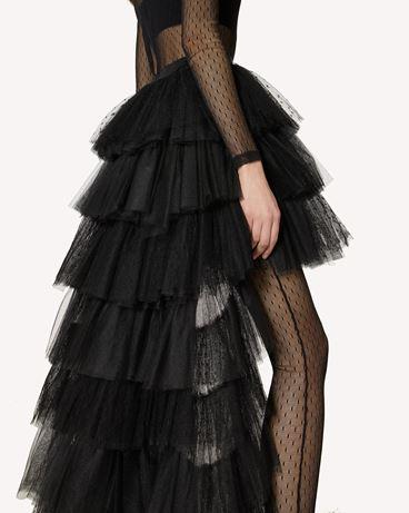 REDValentino The Black Tag。<br>- 细点网眼薄纱荷叶边半裙