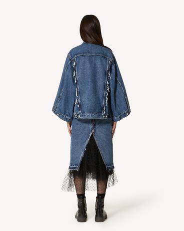 REDValentino 细点网眼薄纱装饰牛仔半裙