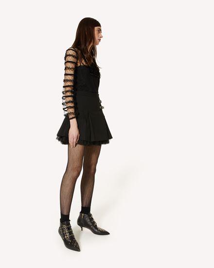 粘胶、羊毛华达呢针织迷你半裙