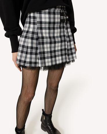 REDValentino 花呢格羊毛迷你褶裙