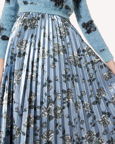 REDValentino Rose 印纹金银丝面料百褶半裙