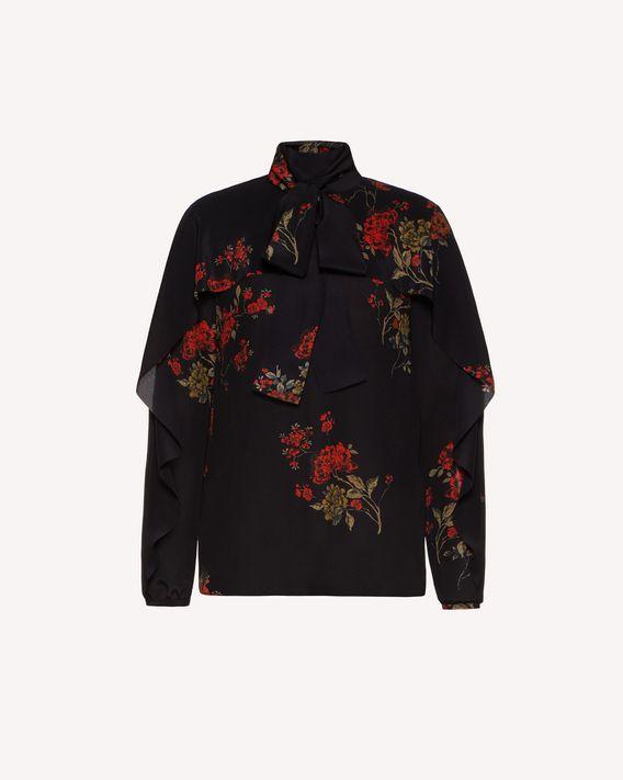 REDValentino 东方繁花印纹褶边双绉上衣