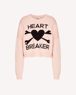 "REDValentino ""Heart Breaker""嵌花羊毛毛衣"