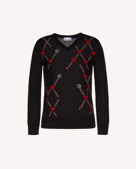 REDValentino 心形与箭头嵌花羊毛毛衣