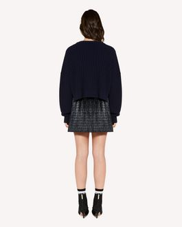REDValentino 心形图案褶饰羊毛毛衣