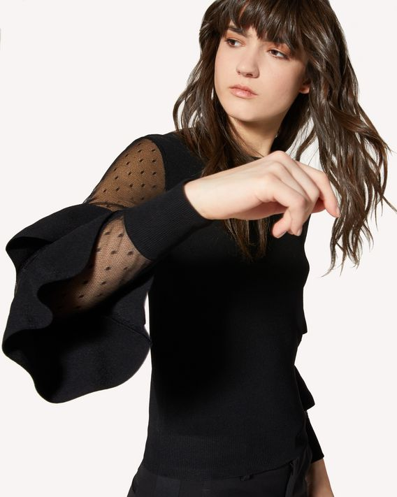 REDValentino 褶饰细节弹力粘胶毛衣