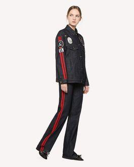 REDValentino 宇宙刺绣拼饰与侧面饰带牛仔夹克