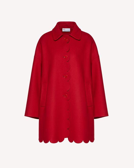 REDValentino 扇形细节羊毛羊绒混纺厚呢大衣
