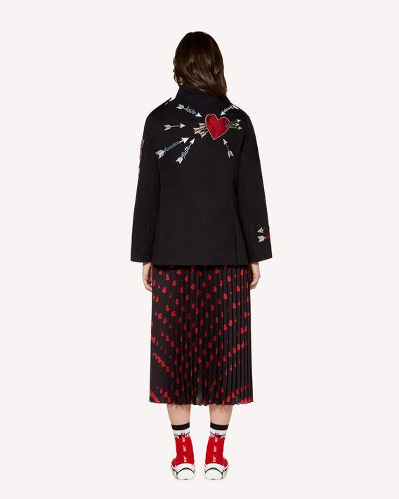 REDValentino 心形与箭头刺绣棉质华达呢卡班大衣