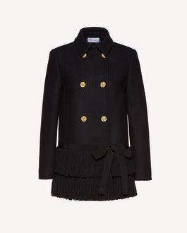 REDValentino 流苏细节羊毛羊绒混纺厚呢大衣