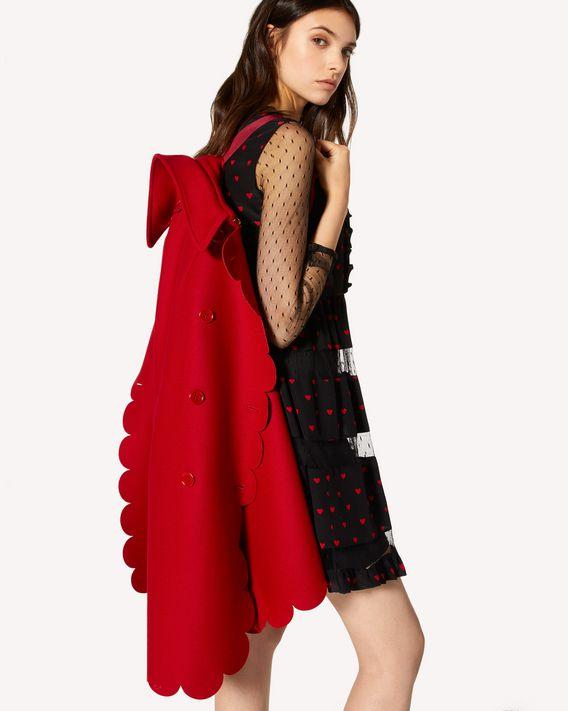 REDValentino 扇形细节羊毛羊绒混纺厚呢斗篷