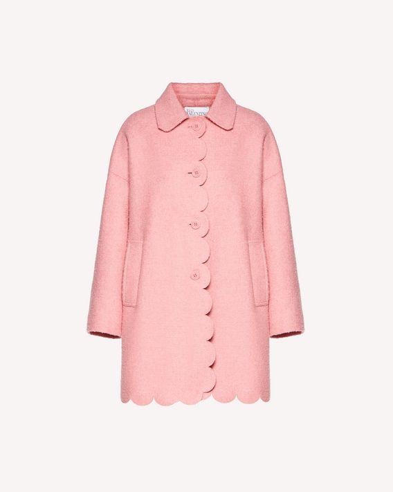 REDValentino 扇形细节珠皮呢大衣