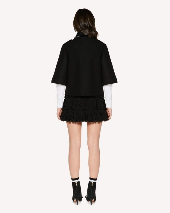 REDValentino 蝴蝶结羊毛羊绒混纺厚呢夹克