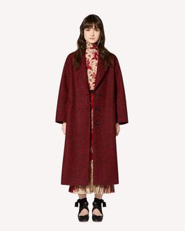 REDValentino 人字纹羊毛褶饰细节大衣